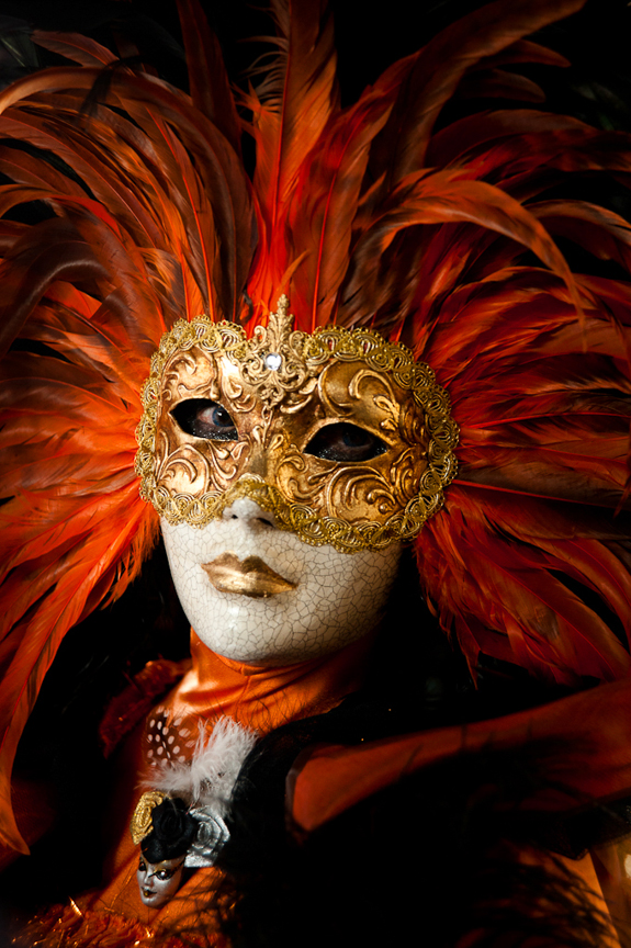 2-Lane Venice Feather Mask